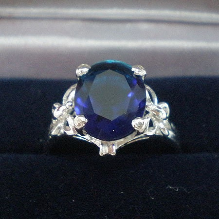 Butterfly Sapphire Blue Oval Silver Engagement Wedding Ring 11mm Size