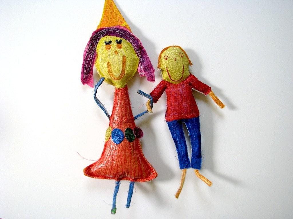 Personalized Plastic Bag Children's Art Keepsake - Custom Made OOAK Set from Your Child's Artwork.