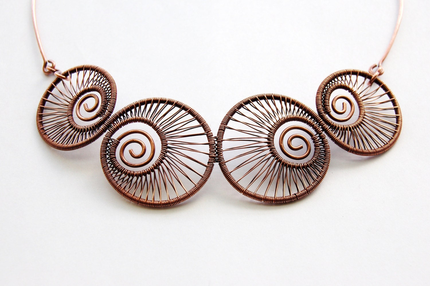 Nautilus - Wire Wrapped Copper Choker Necklace, ooak, original, handcrafted jewelry
