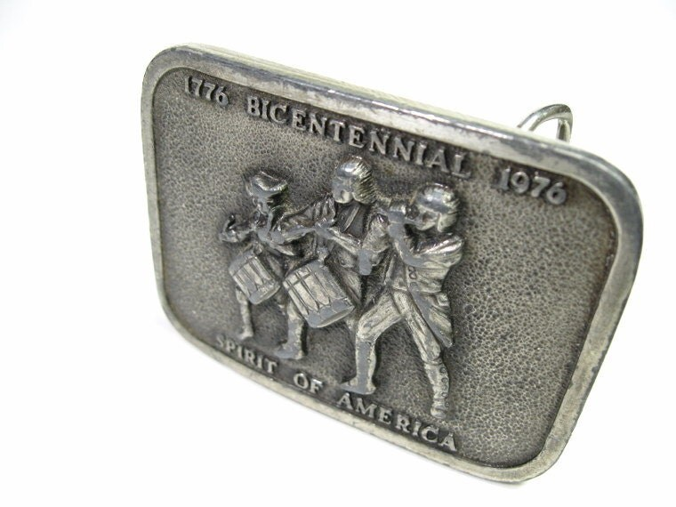 Mens Belt Buckle, Vintage, Pewter, Bicentennial, Americana, Patriotic, 1970s