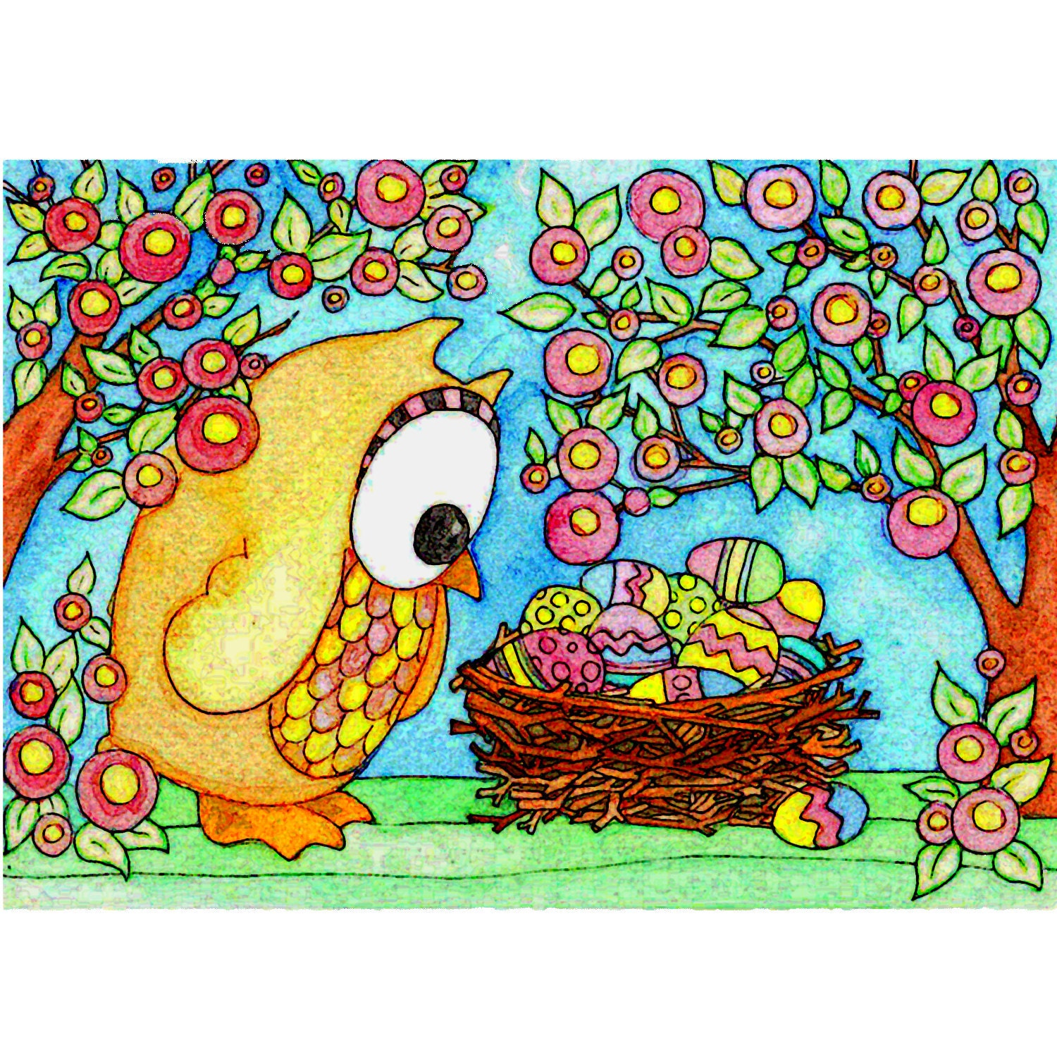 Easter owl notecard