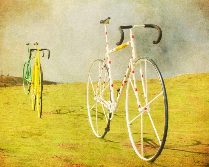 Bicycle photo biker bikes art mustard yellow bike print tour de france bike wheels for men guys art cycling Spain - Le Tour 8x10