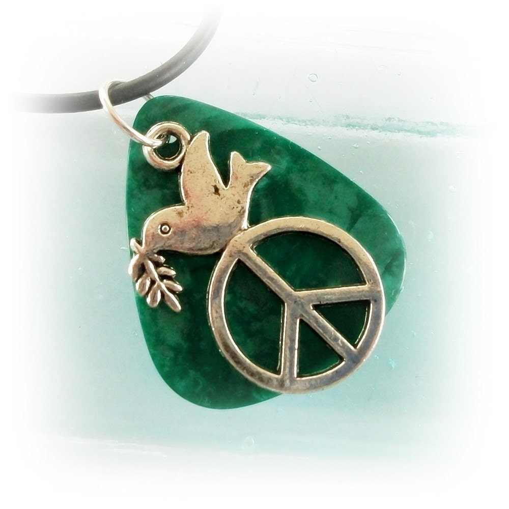 Guitar Pick Jewelry Pendant Dove Peace Green Pearloid