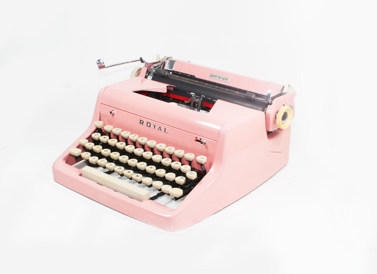 Vintage 1955 Bright Pink Royal Quiet De Luxe Manual Typewriter - BMTvintage