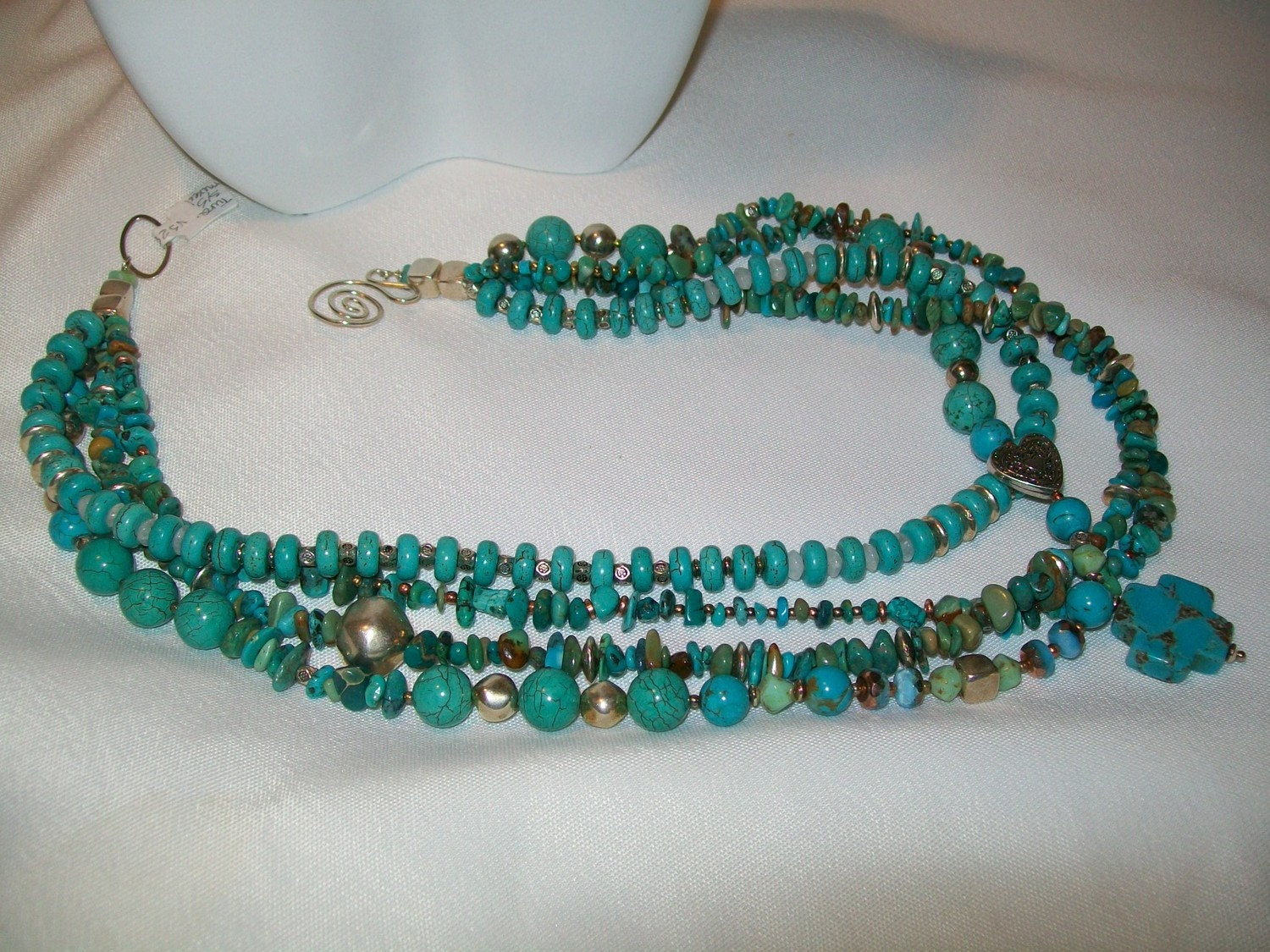 Turquoise Cross Multi-Strand Necklace