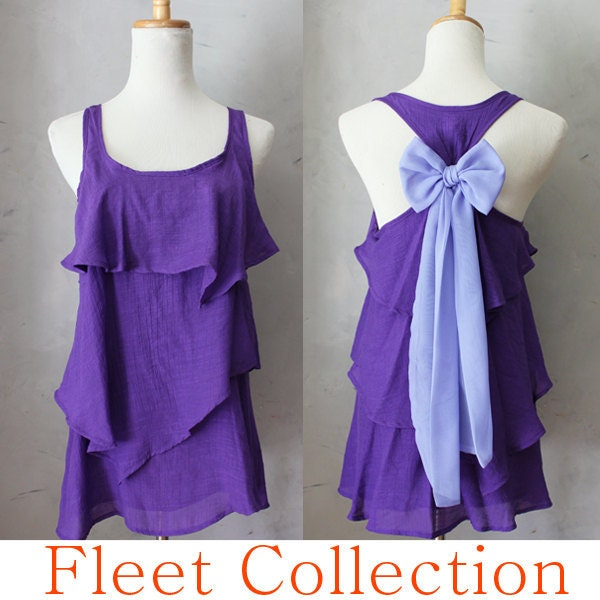 VIOLET AURA - Sleeveless Violet Purple Blouse with Lavender Contrast Chiffon Bow Accent & Tiered Flounce Detail - FleetCollection