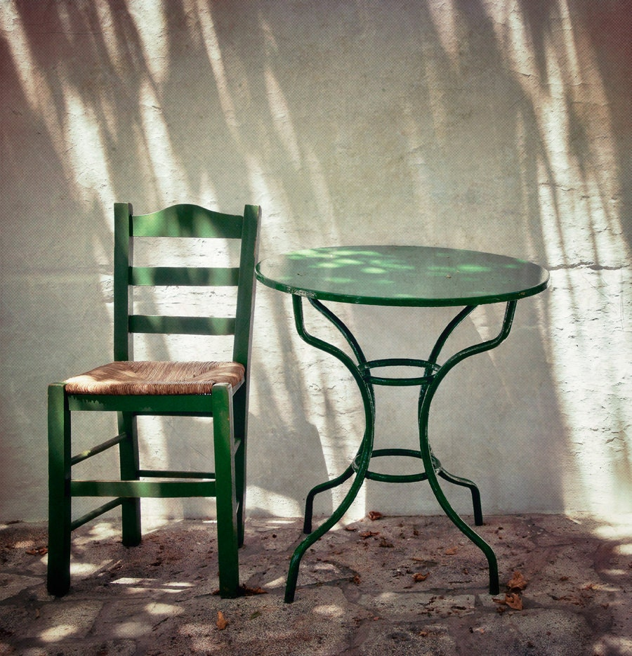 A place in the shade, 6x6 fine art photograph, little cafe in a greek island - stephmel