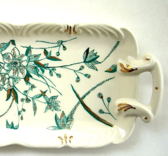 Mint Floral Hand painted Porcelain Tray -Turquoise and Gold, One of a Kind Gift Under 100 - ShebboDesign