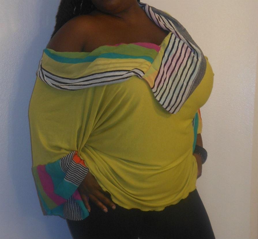 Bobbie - Posh N Petals Green Yellow Knit Color Blocked Tunic Blouse - 1 X  - 2X -Plus Size