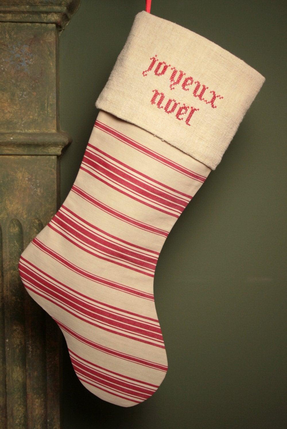Joyeux Ноэль Cross Stitch Vintage французского постельного белья и чулок Ticking Рождество