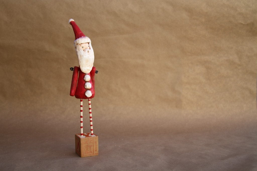 Santa Vintage Inspired Folk Art By Trieste Prusso