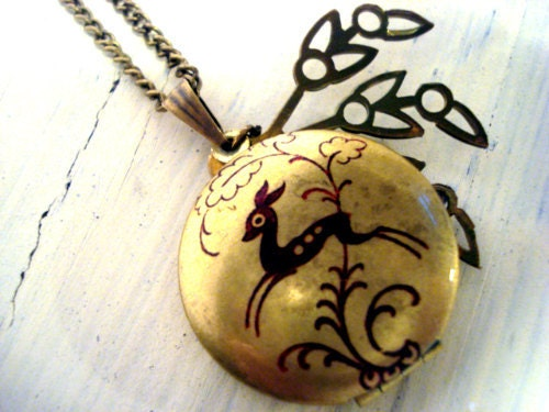 Locket Necklace with art nouveau deer and vintage leaf charm by Villa Sorgenfrei - VillaSorgenfrei