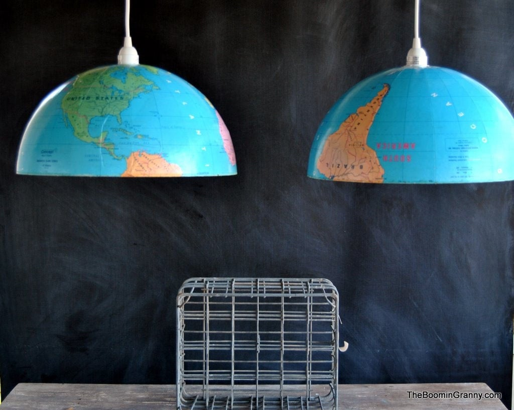 Amazing Pair of Pendant Lights Made From Extra Large World Globe