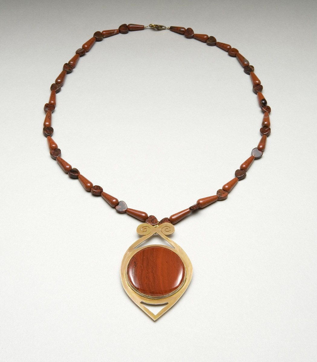 14k Gold-filled Red Jasper Pendant Pin Necklace