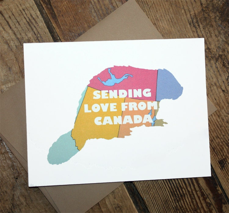 CANADA  greeting card - sending love from Canada beaver map
