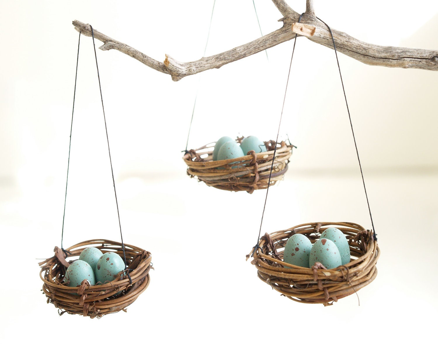 Easter Egg Ornaments, Blue Robins Egg Nests, Tree Decorations, Spring Decorating, natural nature inspired handmade eco friendly Home Decor - Fairyfolk