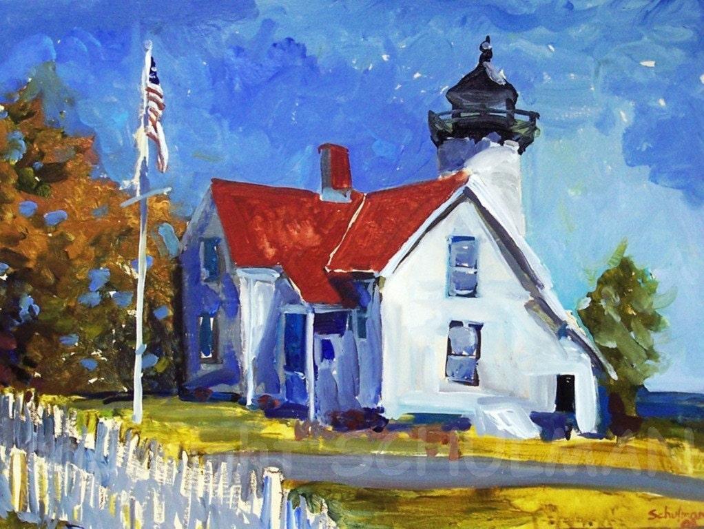 Martha Vineyard, Landscape, Lighthouse painting, lighthouse print