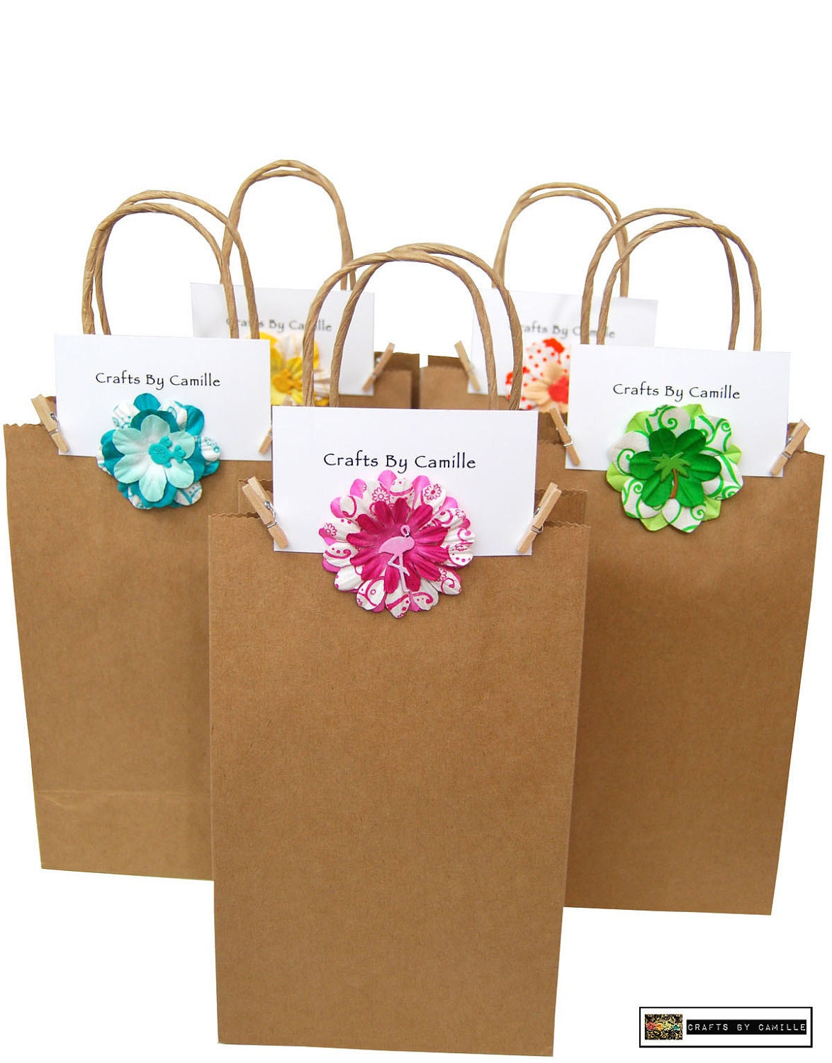 Favor Bags-Mulberry Paper Flowers - CraftsByCamilleShop