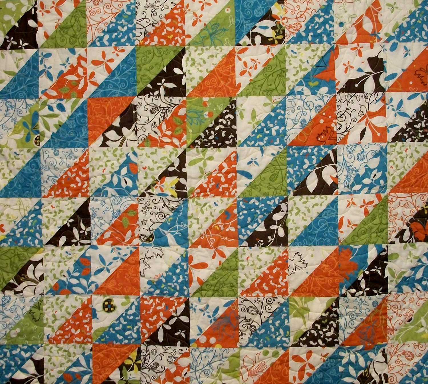 Butterfly Throw Quilt Triangles Chrysalis Tangerine Turquoise Lime Chocolate Brown Handmade Ready to Ship One of a Kind - atthebrightspot