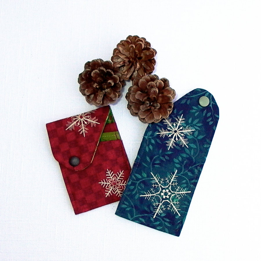 Fabric Business Card Holder, Credit Card Case, Gift Card holder Embroidered with Snowflakes in Red/Green or Blues, Gift under 10 USD