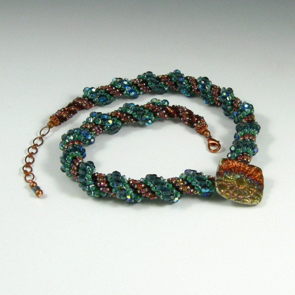 Beadwoven Necklace, Raku Button, Teal Blue