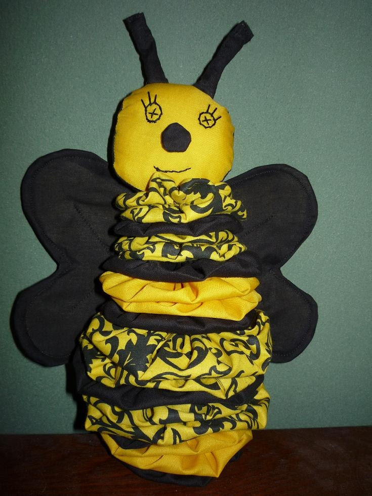 Yo Yo Honey Bee fabric quilt nursery toy decor by YoYosByRobin