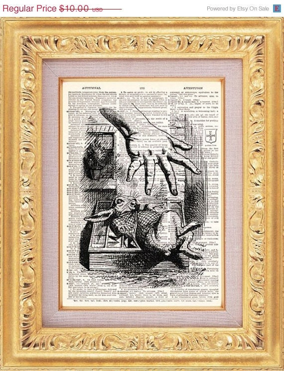 Alice In Wonderland Vintage Print vintage dictionary book page art print beautifully UpCycled 8x10