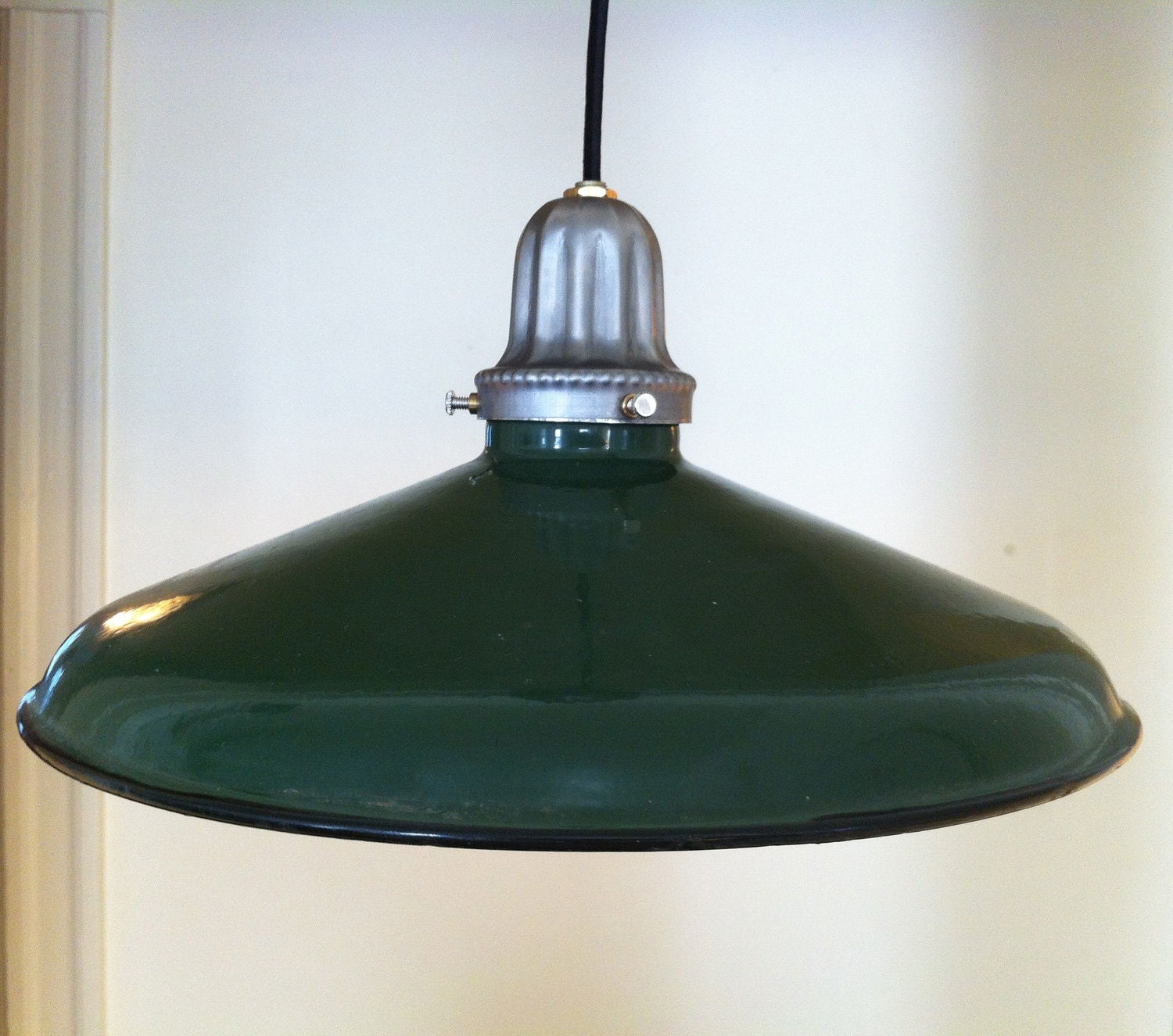 Vintage, Industrial, Porcelain Enamel, Green Gas Station Light, Pendant, Hard Wire, Barn Light