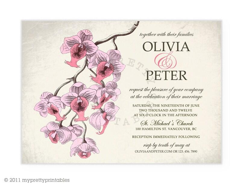 Vintage Orchid YouPrint Digital Wedding Invitation