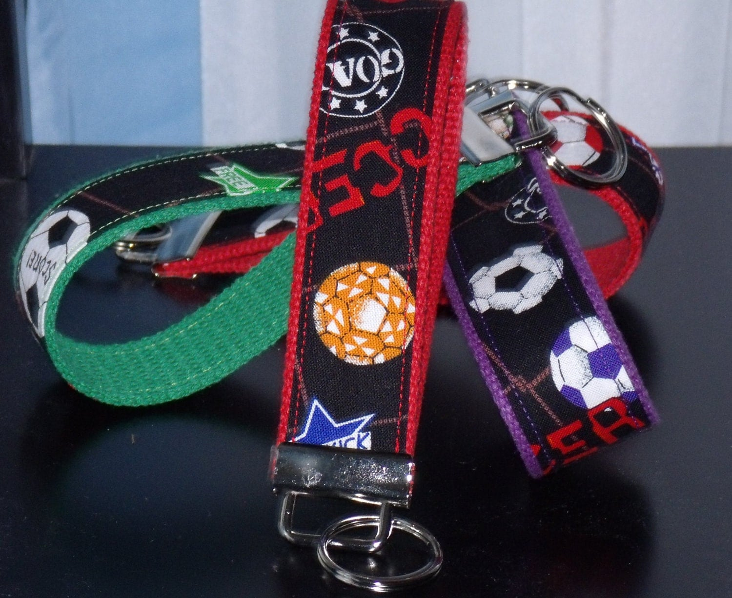 Key Fob in Soccer Print in Your Choice of Colors...Ready to ship