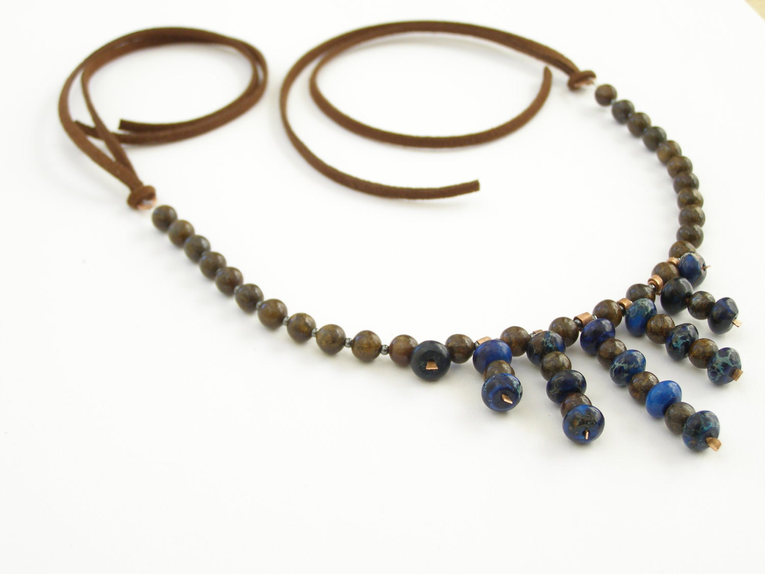 Bronzit Deep blue Jasper Hematite tiny beads on suede tribe necklace