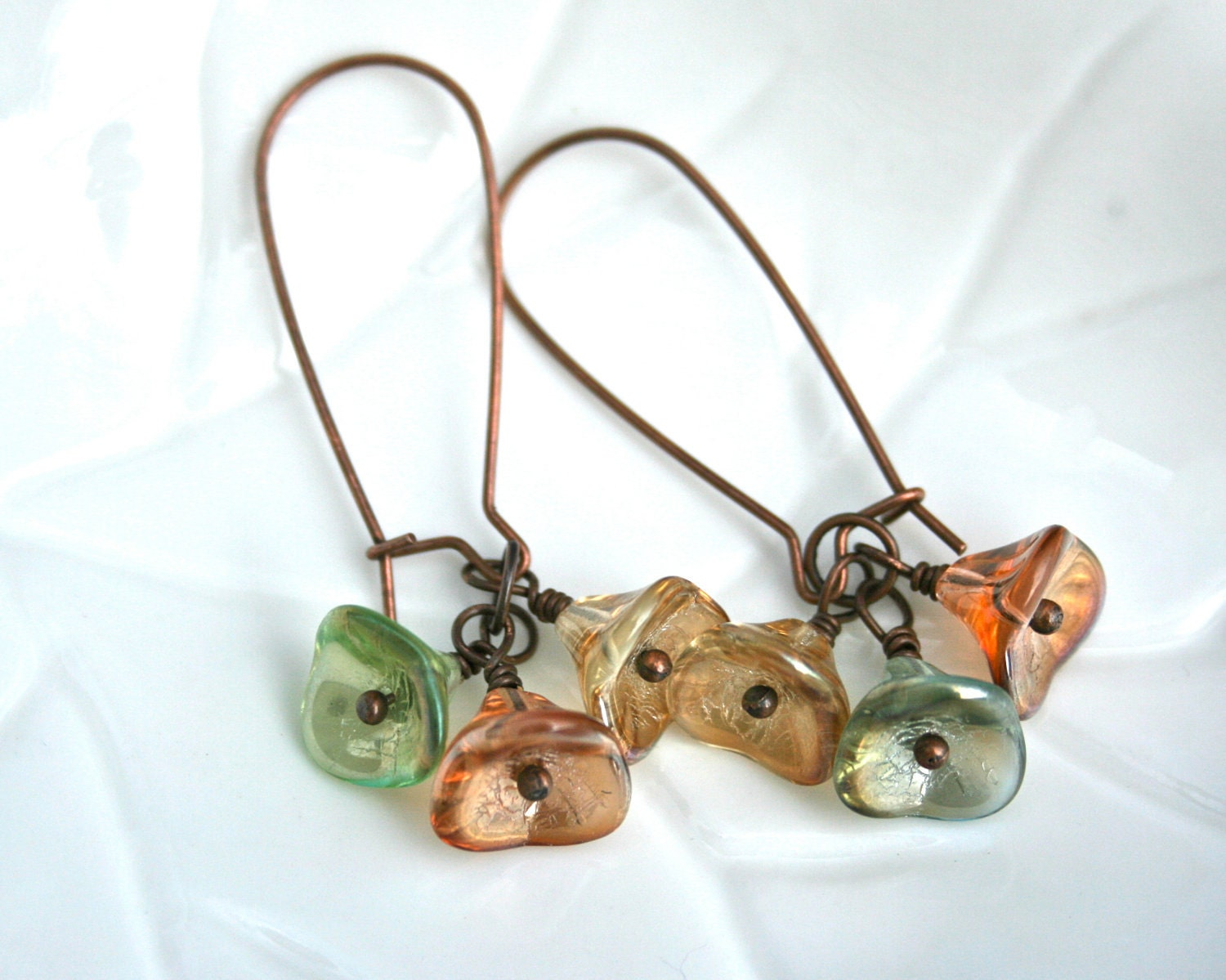 Glass Flower Earrings (Green, Orange, Yellow)