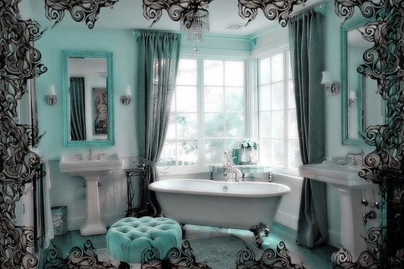 Unavailable listing on etsy for Brown and aqua bathroom ideas