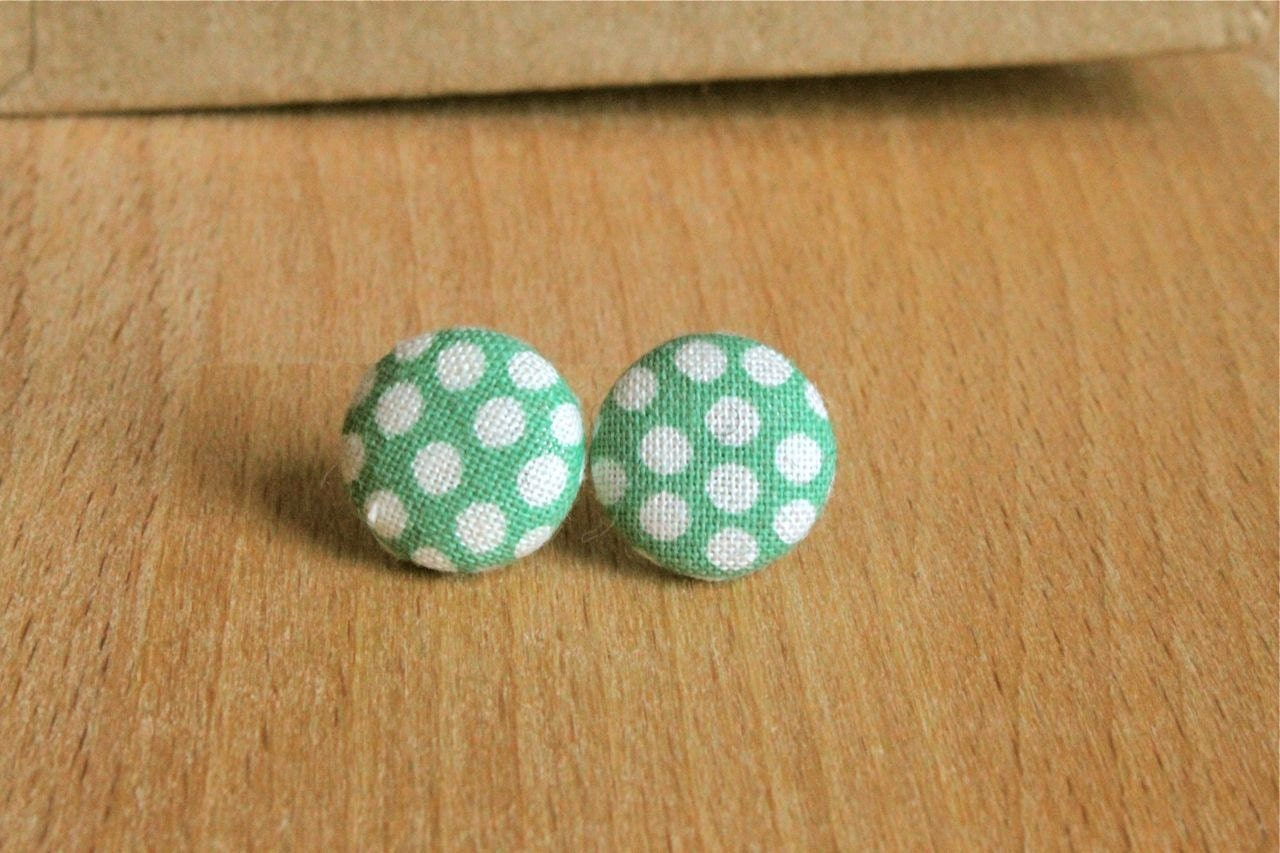 Light Green with White Polka Dot Fabric Button Earrings