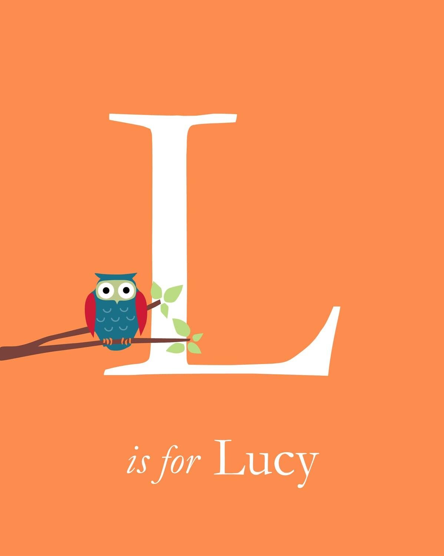 "Personalized Owl Initial Monogram Baby Name Print - Custom Baby Gift - Nursery Art Print - 8""x10"""