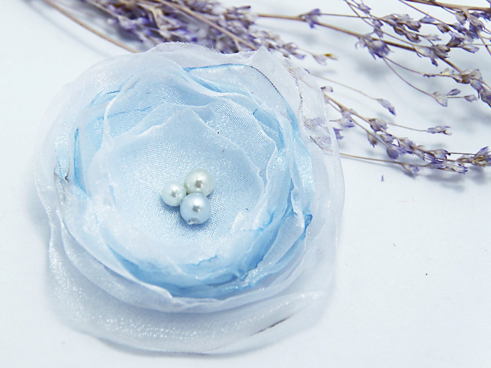 White and baby blue fabric flower brooch hair pin organza flower weddings