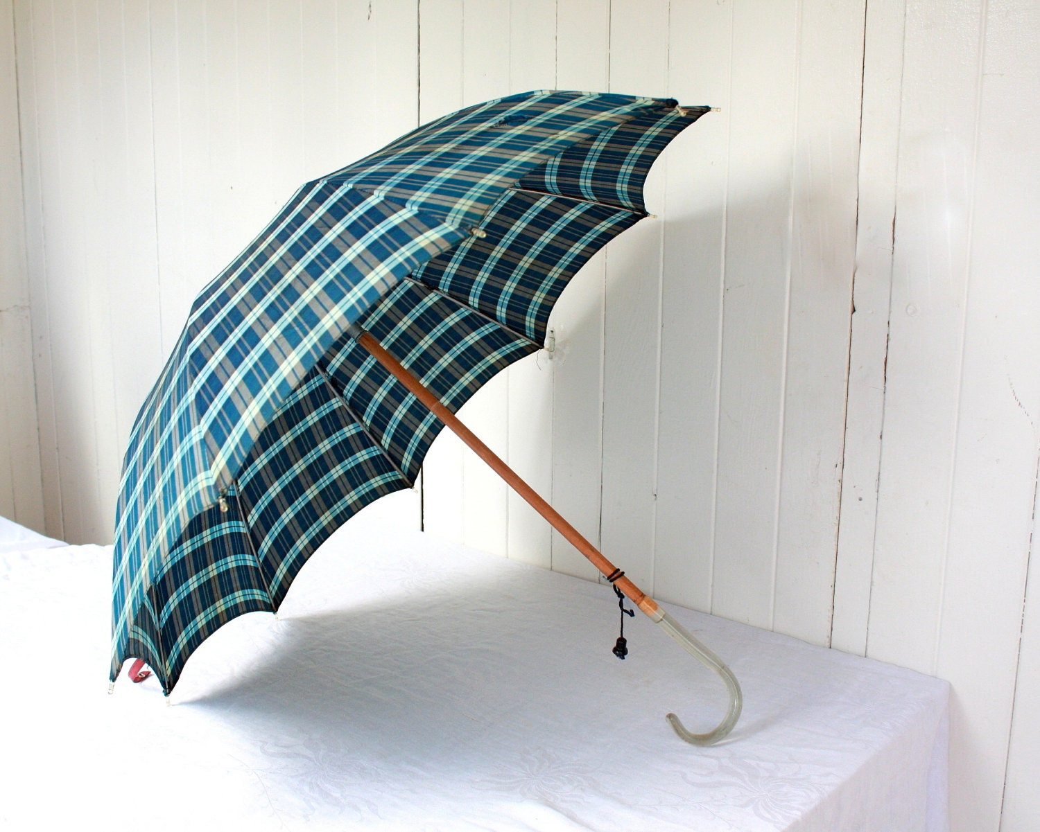 Vintage Umbrella with Lucite Handle, Blue Plaid Umbrella, Vintage Accessories, Fall, Winter - SummerHolidayVintage