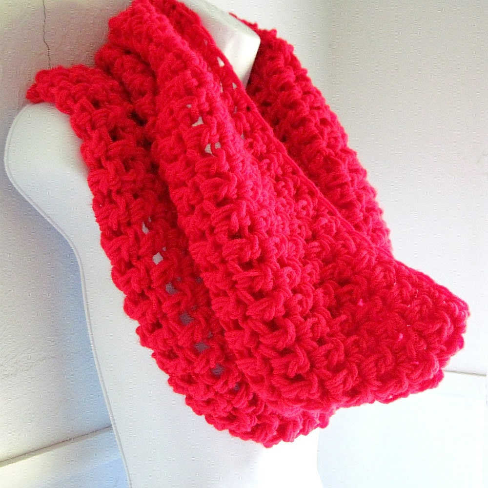 "Red Infinity Scarf Cowl-  Extra Large Chunky Infinity Scarf ""BOGO""  ""Buy one get one 50% off lowest price"""