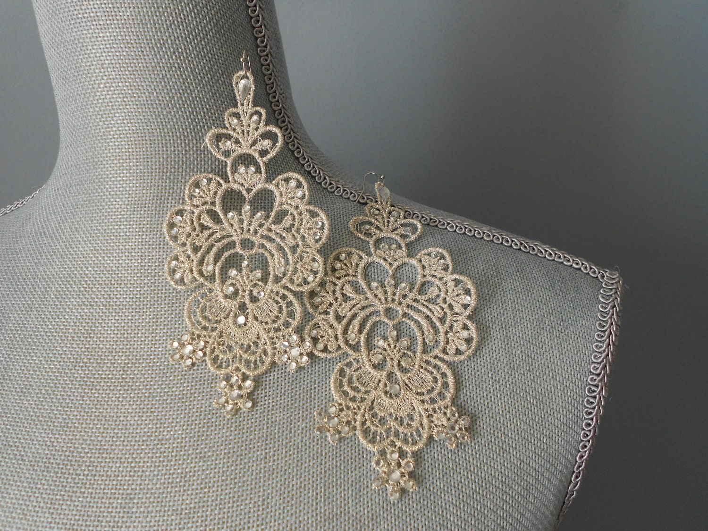 Lace Earrings Rhinestone Chandelier Earrings Silver Lace Earrings Encrusted Rhinestone Lace Earrings Vintage inspired Lace. - BridalbyVanessa