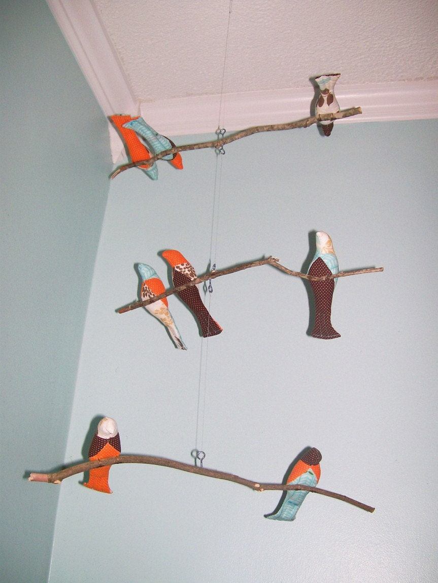 Bird Mobile-3 Tiered, branches, orange, aqua, brown, white