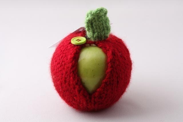 Apple Jacket-Cranberry with Lime Green Button - HandaMade