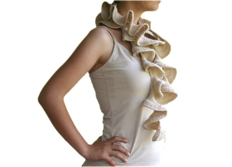 Ruffled Scarf in Glittered Beige - Ruffle Fashion - Women Teens Accessories - Neutral - Scarflette - ForYouDesign