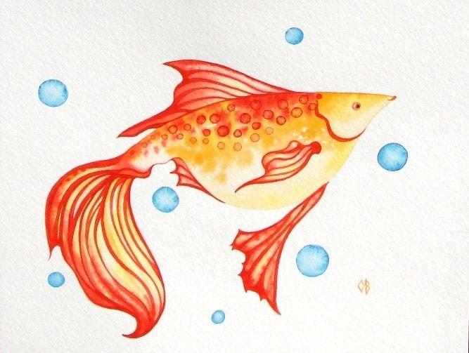"Red Fish ORIGINAL Watercolor Painting Sea Creature Ocean Orange Red Yellow White Nautical Illustration 8""x10"" Nursery Room Decor Sale - NurseryRoomDecor"