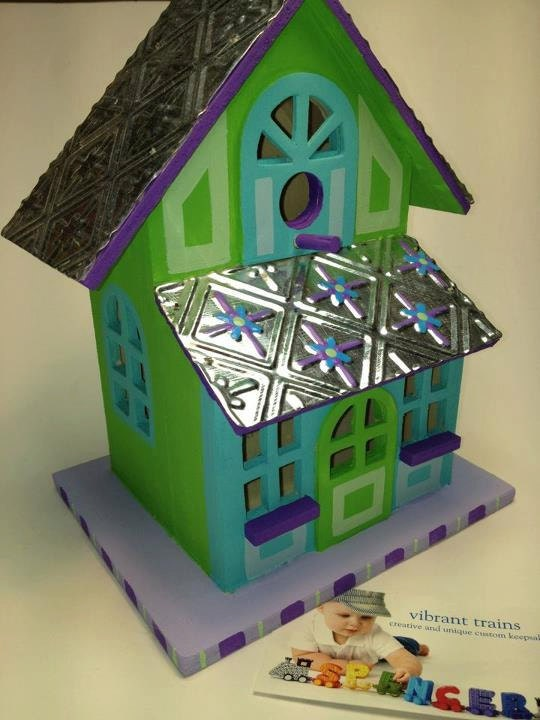 Solid Wood Birdhouse with Metal Roof painted in Lime and Teal for Outdoors and Indoors Custom Hand Painted