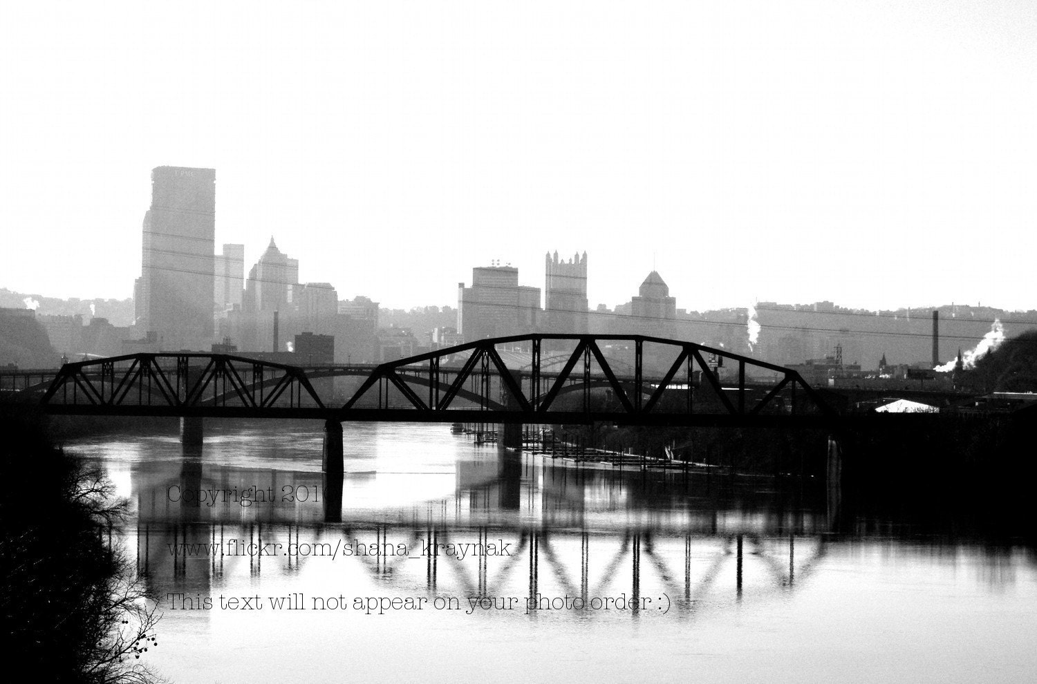 black and white pittsburgh skyline photo - smk16