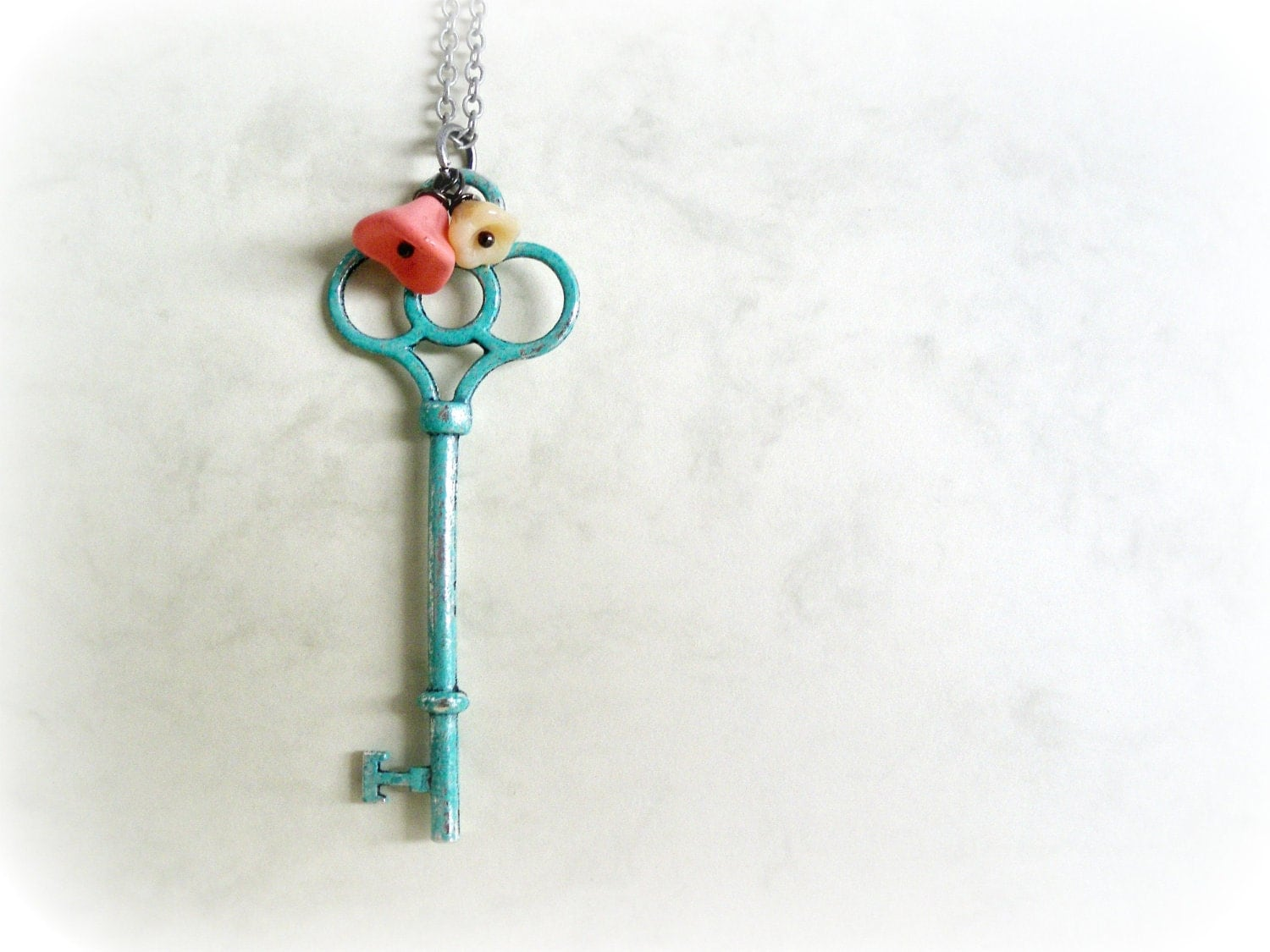 Garden Key-Romantic necklace-Teal blue verdigris patina.Peach pink,white Czech flowers.Antiqued silver chain.Gift for her.Valentines - GBILOBA