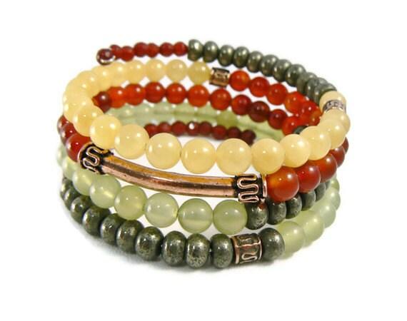 Stacking Bracelet, Stacked Bracelet Stackable Bracelet , Beaded Stack Bracelet - GemstonesOnMyMind