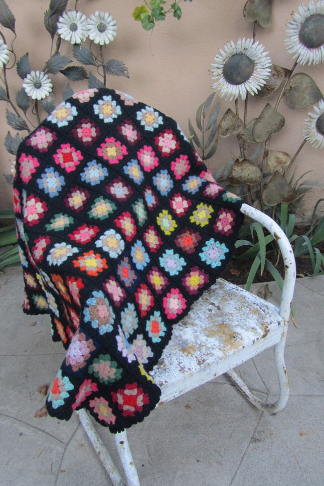 Vintage CROCHETED Throw GRANNY SQUARES Blanket Multicolored Vintage Clothing by TatiTati Vintage on Etsy
