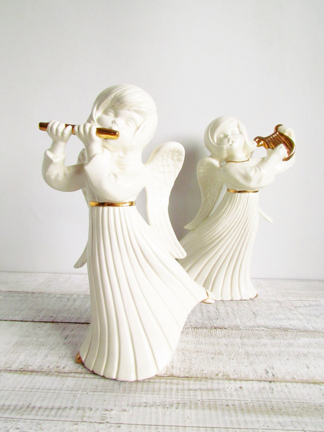 Vintage White Porcelain Musical Angels with Gold Leaf