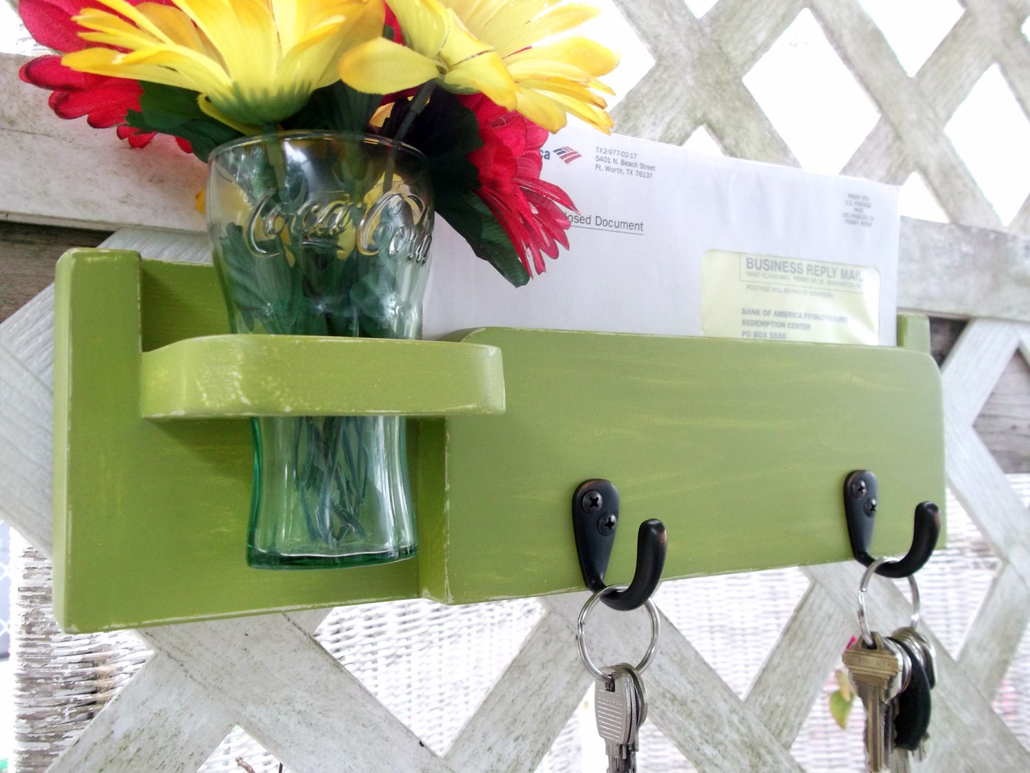 "Two Hook Key and Mail Holder..Recessed Vase..""Chartreuse Green & Ivory""or You Choose Color..Shabby Chic C0ttage..Handmade - datedbydesign"